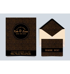 Wedding invitation card art deco vector