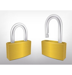 Locked and unlocked metal padlocks vector