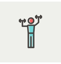 Boy in weight training thin line icon vector