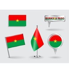 Set of burkina faso pin icon and map pointer vector