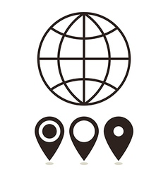 Globe and map pin icons vector