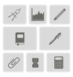 Monochrome set with office icons vector