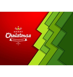 Merry Christmas paper green overlap tree design vector image