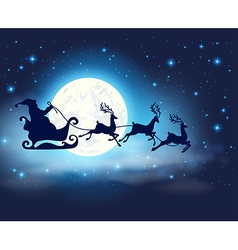 Santa claus deers and full moon vector