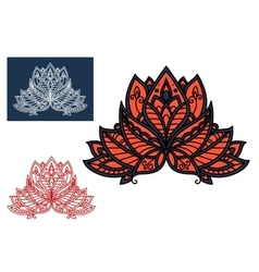Red indian paisley flower with oriental ornament vector