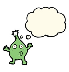 Funny cartoon creature with thought bubble vector