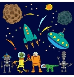 Space background the various space objects vector