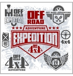 Off-road suv car emblems badges and icons off vector