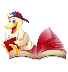Little duck reading a book vector