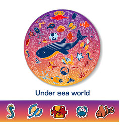 a pattern in the circle with fish and text vector image vector image