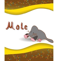 Alphabet letter M and mole vector image vector image
