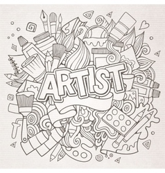 Artist hand lettering and doodles elements emblem vector