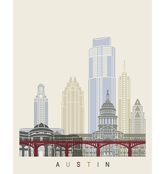 Austin skyline poster vector