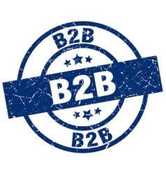 B2b blue round grunge stamp vector