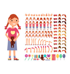 cartoon cute little girl character vector image