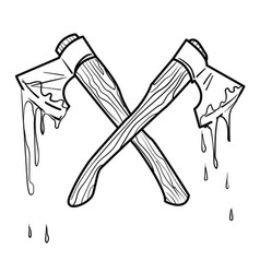 Cartoon image of bloody axe vector