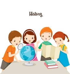 Children in history class vector