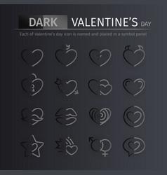 dark gloss valentines day icons set vector image