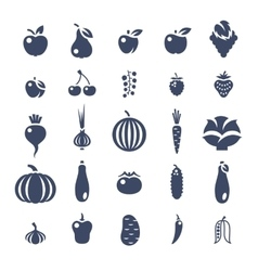 Farm fruits and vegetables flat silhouette vector image vector image