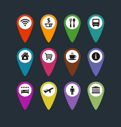 flat travel symbols map pins set vector image vector image