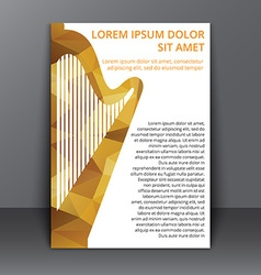 Flyer with polygonal harp vector