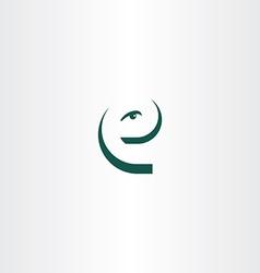 Funny letter e eye face icon logo vector