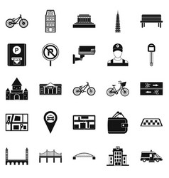 Getting around the city icons set simple style vector