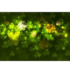Green blurred bokeh background with clovers vector
