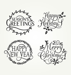 Hand sketched Happy holidays badge and icon set vector image vector image