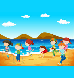 Happy children playing on the beach vector