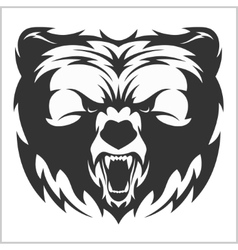 Head grizzly Brown Bear in tribal style vector image