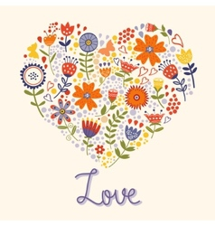 Love card with floral heart vector