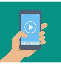 Mobile phone with video player on the screen in a vector