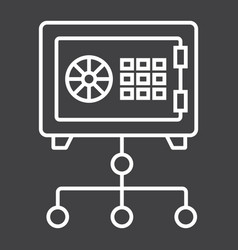 Network safe vault line icon strongbox vector