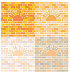 oven and brick wall vector image