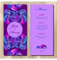 Peacock feathers wedding menu card printable vector