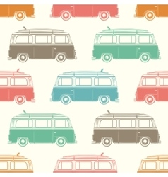 Retro camper van with surfing board Seamless vector image