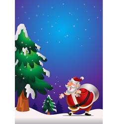 Santa Claus poster blue vector image vector image