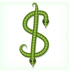 Snake font Dollar symbol vector image vector image