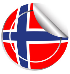 Sticker design for norway flag vector