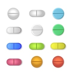 Tablets and colored pills set isolated on vector image