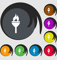 Torch icon sign symbols on eight colored buttons vector