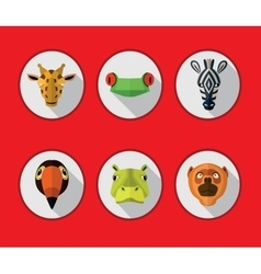 Tropical animals icons format vector image