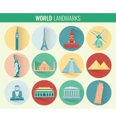 World landmarks flat icon set Travel and Tourism vector image