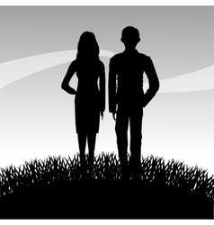 Grass plant and people silhouette design vector