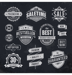 Chalk drawn sale emblems vector image
