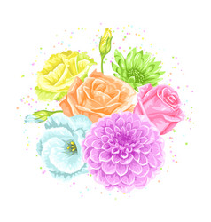 decorative bouquet with delicate flowers object vector image