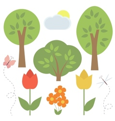 Set of elements for scrapbooking trees flowers vector