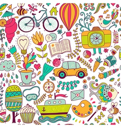 Seamless pattern childish doodles pattern set of vector