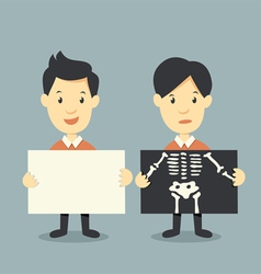 Holding paper and x ray check bones vector
